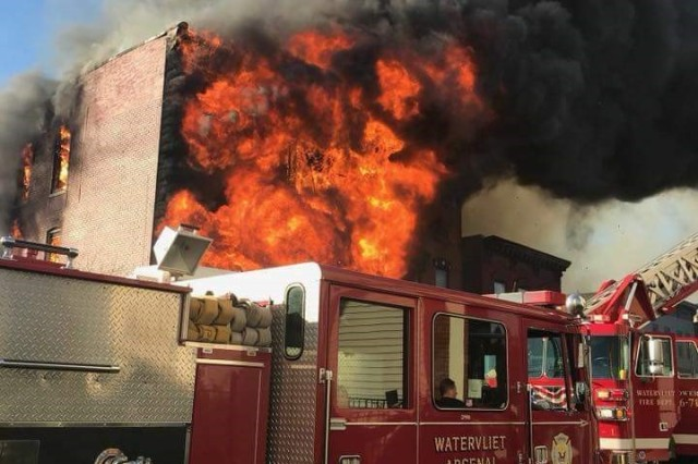 The Watervliet Arsenal's firefighting and EMS teams respond to more than 150 calls each year.  In this photo, is one of the Watervliet Arsenal's fire trucks in position to fight a fire in Cohoes, N.Y. on Nov. 30, 2017.