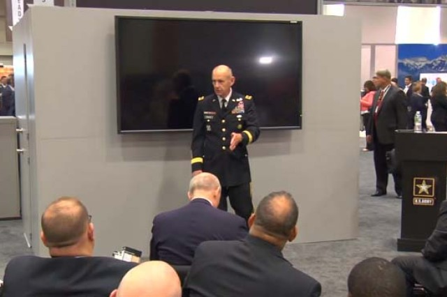 Lt. Gen. Edward C. Cardon, director of the Office of Business Transformation, addresses innovation at the Association of the U.S. Army's 2017 Annual Meeting and Exposition.