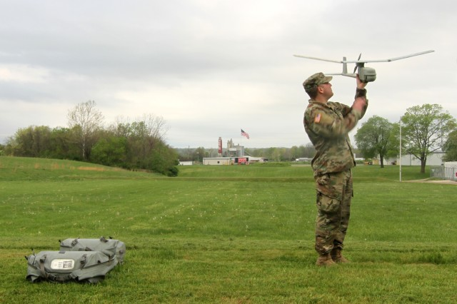 Sgt. Nicholas Hammond, an aviation operations sergeant with Headquarters and Headquarters Company, 1st Battalion, 137th Aviation Regiment, inspects the RQ-11B Raven during training operations April 19, 2017, at Camp Sherman Joint Training Center in Chillicothe, Ohio. The Raven is a Small Unmanned Aircraft System (SUAS) that provides real-time, full-motion video and sensor data to help Soldiers develop situational awareness, enhance force protection and secure routes, points and areas. The Army is working to produce further innovations and enhancements like the Raven to increase the Army's lethality and overmatch.