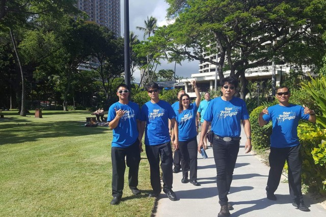 One of 22 Hale Koa Blue Zone walking groups (Moai) in which about 136 staff members from the Hale Koa Hotel participate in daily exercise.