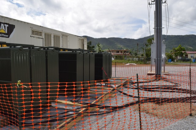 Large transformers, along with 1,850 kilowatt generators form the microgrid system, provide temporary power to Maunabo, Puerto Rico, until the main grid is back online.