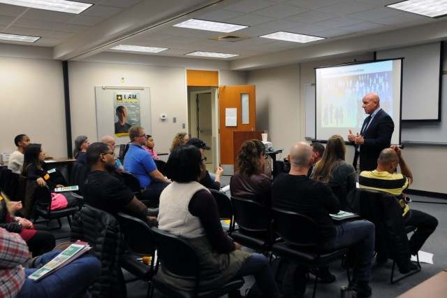 Joseph Walser, the Suicide Prevention Program Manager for Army Reserve Medical Command, addresses 25 students during an Applied Suicide Intervention Skills Training class held 28-30 November, 2017, in Des Moines, Iowa.  The ASIST program and its Pathway for Assisting Life (PAL) model are utilized by the U.S. Army Reserve to train leaders and key personnel in suicide intervention techniques so that individuals can go back to their units as a new capability for their commanders.