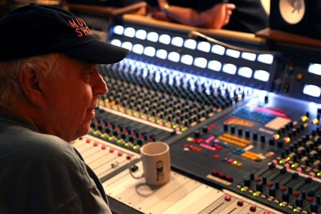 Jimmy Johnson listens to Army band members during a recording session at Fame Studios in Muscle Shoals on Sept. 20, 2017. The Army Materiel Command Band collaborated with many musicians to create a farewell album with the authentic Muscle Shoals sound. U.S. Army Photo by Sgt. David Dorfman