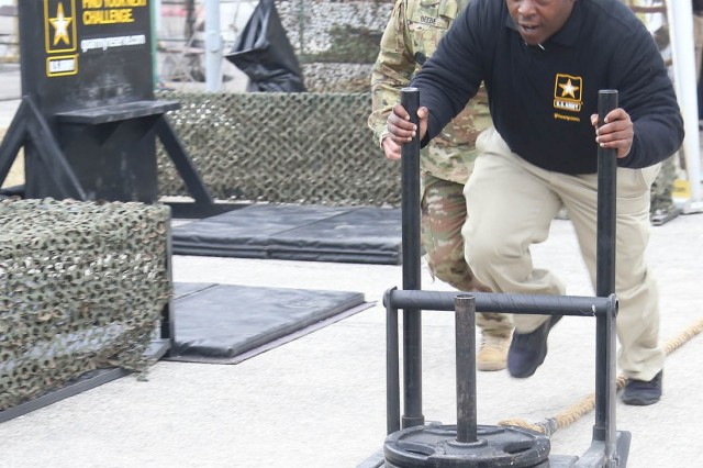The Army fitness challenge included a weighted sled push, at 213 pounds for men and 150 pounds for women.