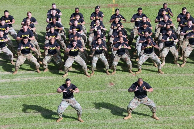 The 25th Infantry Division Ha'a team performs during the 25th Infantry Division's change of command ceremony at Weyand Field, Jan. 4. (U.S. Army photo by Sgt. Ian Ives, 25th Sustainment Brigade Public Affairs, 25th Infantry Division)