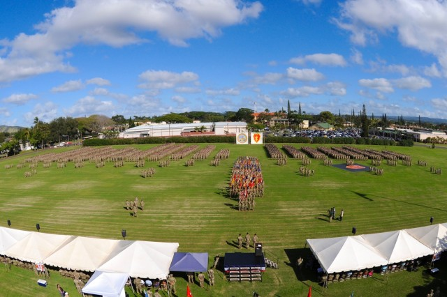 More than 5,000 25th Infantry Division Soldiers participated in the division's change of command Jan. 4 at Weyand Field, Schofield Barracks. Maj. Gen. Ron Clark assumed command from Maj. Gen. Christopher Cavoli. Cavoli has been nominated for promotion and will continue his career in Europe. (U.S. Army photo by Sgt. Ian Ives, 25th Sustainment Brigade Public Affairs, 25th Infantry Division)