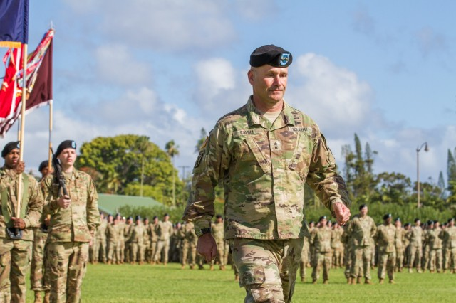Maj. Gen. Christopher Cavoli leaves the field after relinquishing command during the 25th Infantry Division change of command at Weyand Field on Jan. 4. Cavoli served as the division's commander since August 2016. He will now continue his career in Europe. (U.S. Army photo by Pvt. Megan Barnes, 28th Public Affairs Detachment)