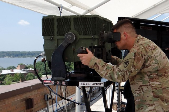 A Soldier views the 3rd Gen FLIR's capabilities. Third Gen FLIR enables greater speed, precision and range in the targeting process and promises to unlock the full potential of infrared imaging.