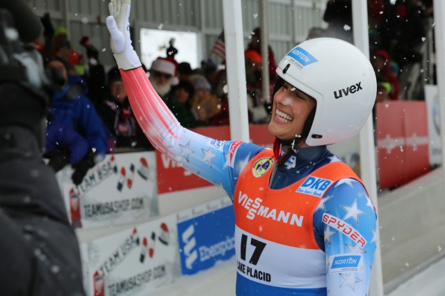 Sgt. Emily Sweeney receives congratulations after competing in a sprint run race Dec. 16 at the Lake Placid Olympic Center. Sweeney qualified for her first Olympics after not making the 2010 and 2014 teams.
