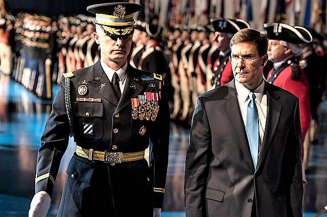 The 3rd U.S. Infantry Regiment (The Old Guard) Commander Col. Jason Garkey finishes a review of the troops with Secretary of the Army Mark Esper Jan. 8 at Conmy Hall during a U.S. Army Arrival Ceremony at Joint Base Myer-Henderson Hall.