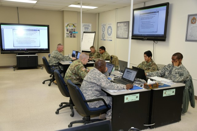 Soldiers participate in the Career Management Field 91/94 Ordnance Senior Leader Course on Dec. 13, 2017, at the Regional Training Site-Maintenance facility at Fort McCoy, Wis. The course is resident training delivered via small group instruction with an emphasis on Army ordnance leadership logistics management. The course primarily supports training in the Army's 91 and 94 military occupational specialties and includes 80 hours of training. (U.S. Army Photo by Scott T. Sturkol, Public Affairs Office, Fort McCoy, Wis.)