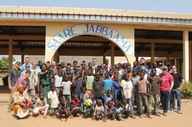 Fourteen service members assisted the Task Force Darby Civil Affairs Team with delivering food, soccer nets and soccer balls to the Saare Jabbama youth rehabilitation center, Dec. 23, 2017, in Garoua, Cameroon.