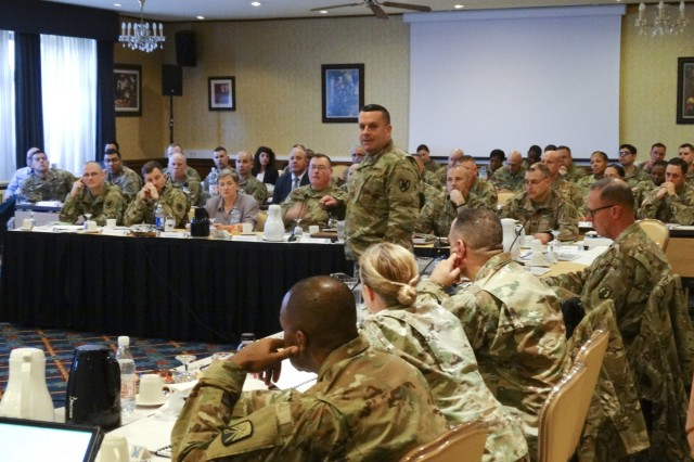 Maj. Gen. Steven A. Shapiro, 21st Theater Sustainment Command commanding general, and Command Sgt. Maj. Alberto Delgado, 21st Theater Sustainment Command senior enlisted advisor, host the 2018 Senior Leaders Forum at the Armstrong Club on Vogelweh Housing Complex, Jan 9-10.Shapiro and Delgado spoke with senior enlisted advisors and senior officers about readiness, Saber Strike 18 and various operations happening throughout the European Theater. They also discussed the accomplishments and short comings of the previous year.