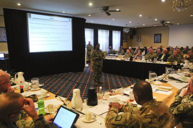 Sgt. 1st Class Tammie Franklin, 21st Theater Sustainment Command sexual assault response coordinator, briefs at the 2018 Senior Leaders Forum at the Armstrong Club on Vogelweh Housing Complex, Jan 9-10.The Senior Leaders Forum served as an opportunity for senior enlisted advisors and senior officers to discuss readiness, Saber Strike 18 and various operations happening throughout the European Theater. They also discussed the accomplishments and short comings of the previous year.