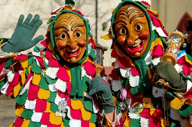 The south-west of Germany and parts of Switzerland celebrate the Swabian-Alemanic Fastnacht where people wear large masks typically made from wood.