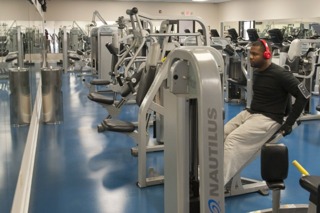 A patron works out on one of the weight machines at Anniston Army Depot's Physical Fitness Center. The PFC features weight, cardio and a variety of other fitness equipment.