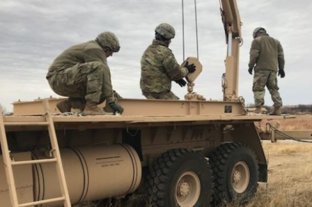 Air defenders from B Battery, 3rd Battalion, 2nd Air Defense Artillery, conduct missile reload training using a guided missile transporter during December 2017, at Fort Sill, during a mission rehearsal exercise.