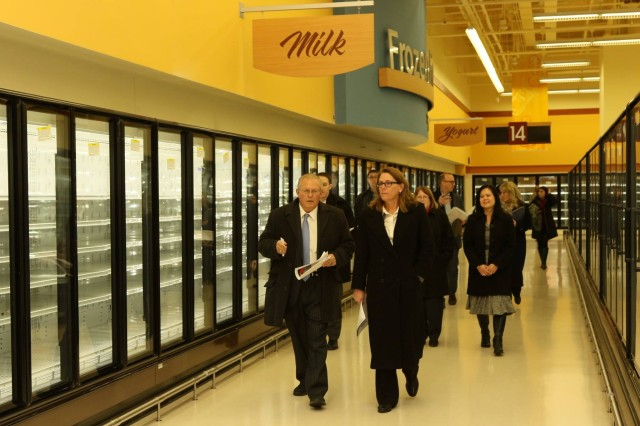 Mrs. Leah Esper, spouse of Secretary of the Army Mark T. Esper, tours the newly constructed commissary, set to open this February, U.S. Army Garrison Humphreys, Jan. 9, 2018.