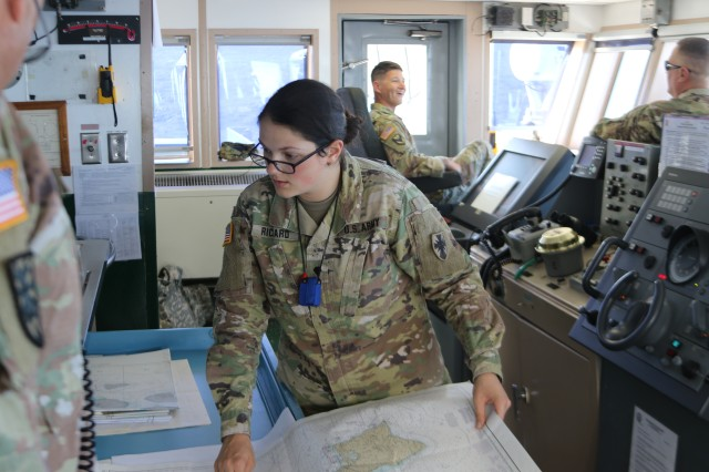 """I joined the Army for the educational opportunities. I enjoy serving on the bridge as the vessel's quartermaster and I see places I'd never visit otherwise.""SPC Brittany Richard, Watercraft Operator, 545th Transportation Company, on why she joined the Army"