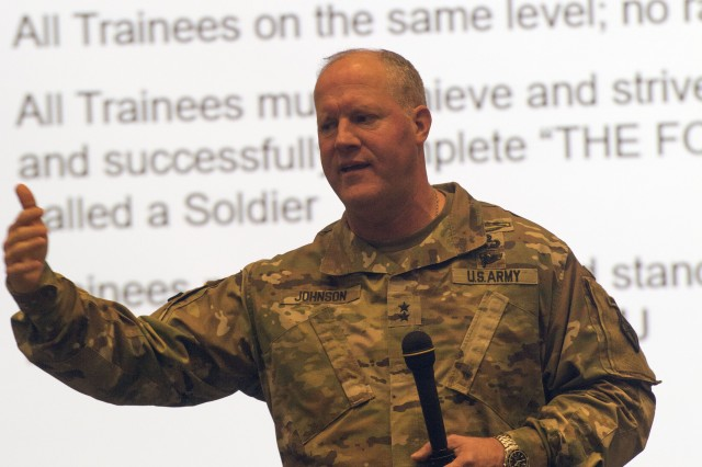 Maj. Gen. Pete Johnson, Fort Jackson and Army Training Center commander, speaks to company commanders and first sergeants about changes to Basic Combat Training Jan. 4.