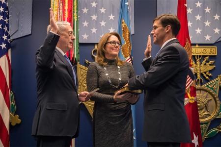 Secretary of Defense James N. Mattis formally swears in the Secretary of the Army Dr. Mark Esper at the Pentagon, Washington D.C., Jan. 5, 2018.