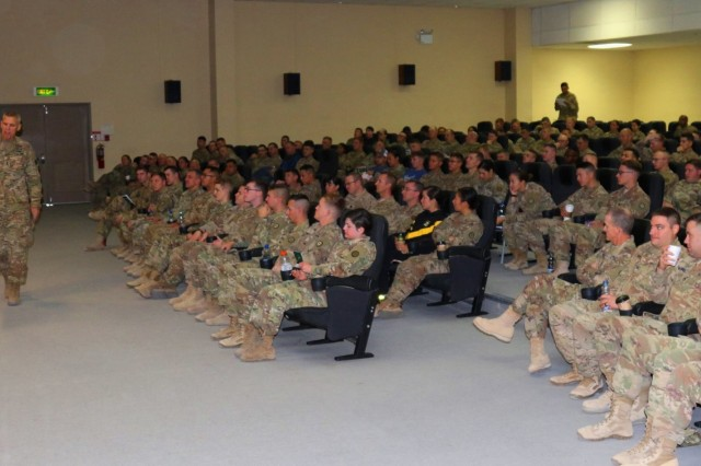 Maj. Gen. Victor Braden addressed a packed theater as he led a discussion the importance of the 35th Infantry Division's support of missions in the Middle East. Braden's remarks opened discussions during the Sexual Harassment Assault Response Program (SHARP) course, presented by 35th Inf. Div. Headquarters and Headquarters Battalion leadership Nov. 25, at Camp Arifjan, Kuwait.