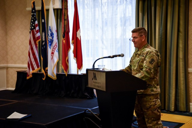 U.S. Army Brig. Gen. Frank Rice, deputy commander for the 263rd Army Air Missile Defense Command, South Carolina National Guard, addresses graduates of the Patriot missile training program at a ceremony held in Columbia, South Carolina, Jan. 6, 2018.  The eight month-long training was conducted by the South Carolina Army National Guard in order for air defense Soldiers to have a better understanding of the Patriot missile weapons system and enhance their capabilities to manage this asset.Patriot training program graduates.