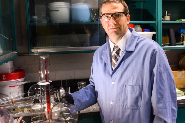 Dr. Jesse J. Sabatini, team leader of the Energetics Synthesis Team within ARL's Weapons and Materials Research Directorate, leads efforts to synthesize a new material called bis-isoxazole tetranitrate, or BITN, with potential applications in propulsion and lethality.