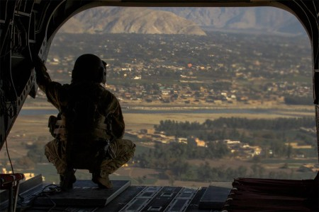 Soldiers from 3rd Combat Aviation Brigade conduct flight operations in a CH-47 Chinook helicopter, Northern Afghanistan, Dec. 5, 2017.