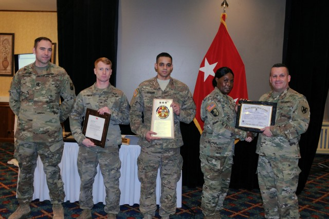 Maj. Gen. Steven A. Shapiro, commanding general, 21st Theater Sustainment Command, presents 5th Quartermaster Theater Aerial Delivery with the Department of the Army's Supply Excellence Award Fiscal Year 2016-2017 in a ceremony held on Vogelweh Military Complex, Jan. 10.