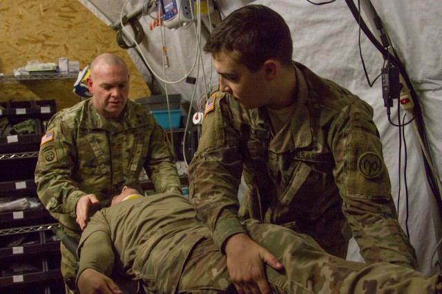 27th Infantry Brigade Combat Team Soldiers assigned to the Joint Multinational Training Group -- Ukraine (JMTG-U) participated in a MASCAL exercise here Jan. 12. The exercise, which was designed to resemble a vehicle collision, was used to test the JMTG-U Medical Section's readiness and capabilities. During the exercise the medics that responded had to triage and treat simulated casualties before transporting them to the Troop Medical Clinic for further care.