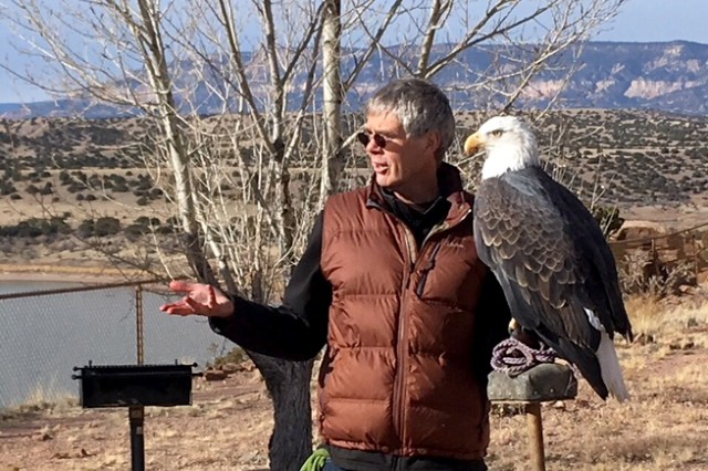 ABIQUIU LAKE, N.M. -- The Wildlife Center presented their captive bald eagle Maxwell to the volunteers who came out to count eagles at Abiquiu Lake, Jan. 6, 2018. They used Maxwell to highlight some of the distinguishing characteristics between golden eagles, and mature and immature bald eagles.