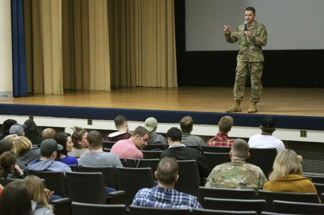 Col. Guillaume Beaurpere, 1st Special Forces Group (Airborne) commander, speaks with patrons coming to see the special showing of the movie 12 Strong: The Declassified True Story of the Horse Soldiers, Jan. 13, at Carey Theater, Joint Base Lewis-McChord, Wa. 12 Strong: The Declassified True Story of the Horse Soldiers is a movie based on the unclassified story of 5th Special Forces Group (Airborne) mission in Afghanistan in response to the 9/11 terrorist attacks. The movie is focused on one of three teams involved in the operation and their Afghan partners, the Northern Alliance, in their mission to eliminate terrorist networks and destroy the Taliban safe havens in Afghanistan. (U.S. Army Photo by Staff Sgt. Marcus Butler, 1st Special Forces Group (Airborne) Public Affairs)