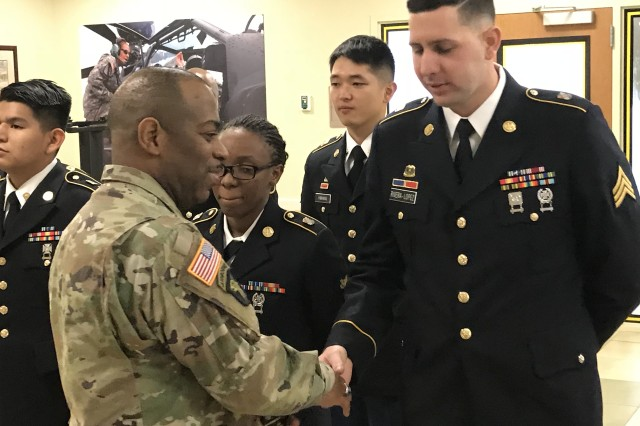 Sgt. Jonathan Rivera accepts congratulations for winning the NCO Chef of the Quarter competition. The competition was a three-day event from Jan. 8-10, 2018, at Fort Hood, Texas.