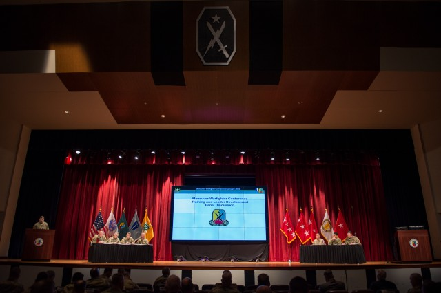 FORT BENNING, Ga. (Jan. 10, 2018) -- Brig. Gen. Christopher T. Donahue, commandant of the U.S. Army Infantry School; Col. Robert B. Fouche, director of the Command and Tactics Directorate; Col. Anthony G. Judge, commander of the 199th Infantry Brigade; Col. Kelly D. Kendrick, commander of the 198th Infantry Brigade; and Command Sgt. Maj. Michael J. Ames, commandant of the Henry Caro Noncommissioned Officer Academy, hold a panel discussion on training and leader development. The panel took place as part of the multi-day Maneuver Warfighter Conference at the Maneuver Center of Excellence and Fort Benning, Georgia, Jan. 8 through 11. (Photos By: Suhyoon Wood / MCoE Pao Photographer)