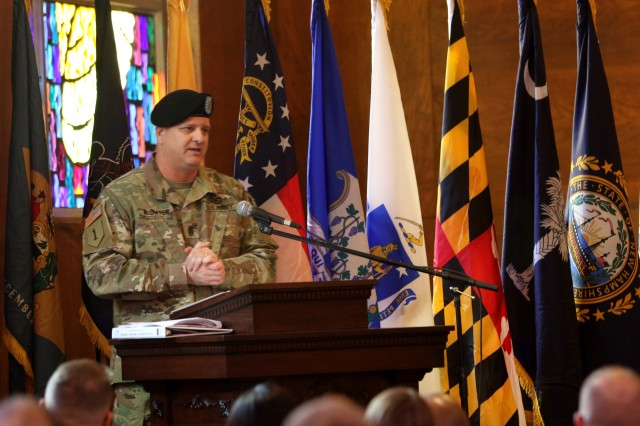Command Sgt. Maj. John P. McDwyer, First Army Division West senior enlisted Soldier, addresses Division West Soldiers for the first time in his new role in the  25th Street Chapel on Fort Hood, Texas, Jan. 16. McDwyer has held many positions over 35 years of service with multiple combat deployments.