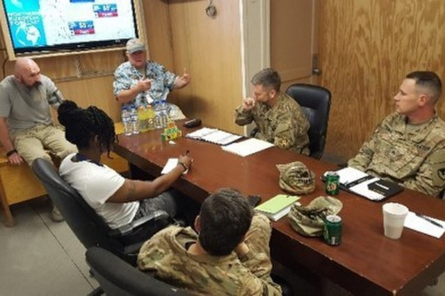 Several team members of the 614th Contracting Team discuss requirements with customers. Their mission is to provide both base life support and private security to all US and coalition forces supporting Operation Resolute Support in Afghanistan. UA-58345956-1 (Courtesy Photo)