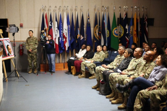 Area IV Soldiers, Department of Defense civilians, contractors, local nationals and Family members attend a Martin Luther King Jr. observance ceremony, Jan. 11 at the Camp Henry post theater, Daegu, Korea.