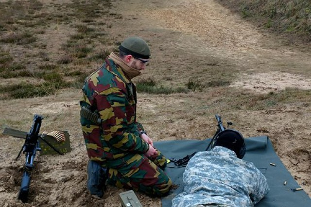 Army Sgt. John Makulinski, from the Provost Marshal Office at U.S. Army Garrison Benelux in Brussels, fires the 7.62mm FN SCAR High Precision Rifle at a 600-meter target. Soldiers participated in a weapons training with the Belgian Army Jan. 8 to 12, 2018, in Arlon, Belgium.