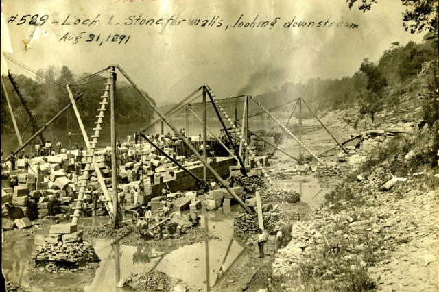 Construction is ongoing at Lock 1 on the Cumberland River in Nashville, Tenn., Aug. 31, 1891.  The view shows the stone blocks for the walls looking downstream. The U.S. Army Corps of Engineers Nashville District built the lock and dam to establish a navigation channel. The old locks and dams were replaced by today's modern dams. (USACE Photo)