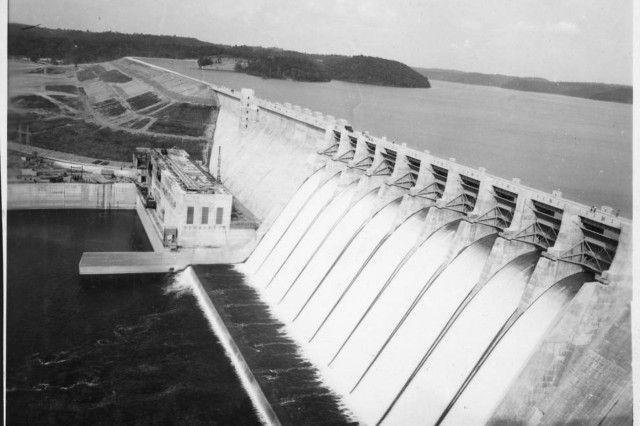 Construction of the Wolf Creek Dam Power Plant nears completion in Jamestown, Ky., July 7, 1951.  The U.S. Army Corps of Engineers Nashville District constructed the dam on the Cumberland River forming Lake Cumberland. (USACE Photo)
