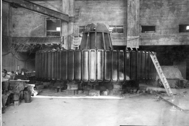 The rotor for hydropower unit six is on a pedestal July 30, 1951 at Wolf Creek Dam Power Plant in Jamestown, Ky., as the U.S. Army Corps of Engineers Nashville District consructed the hydropower house at the dam. (USACE Photo)