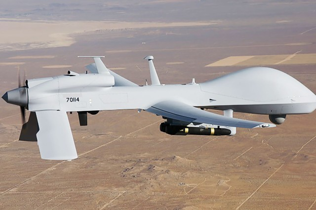 Current large UAS platforms like this Gray Eagle provide important capabilities but need a runway to take off. These systems also have lower airspeeds and depend on data links and GPS signals. Future systems will need to be more independent to operate in a complex battlespace.