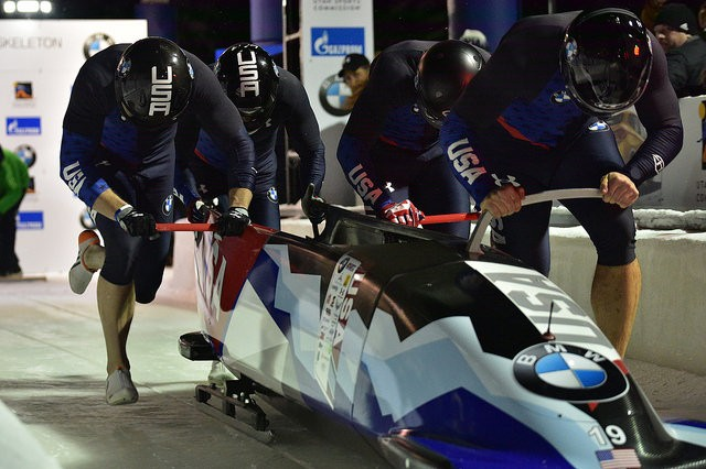 U.S. bobsled racers, including Maj. Chris Fogt and Sgt. Justin Olsen, compete in the World Cup at Park City, Utah, November 2017. Fogt and Olsen were both named to the U.S. bobsled team that will compete in the 2018 Winter Olympics.
