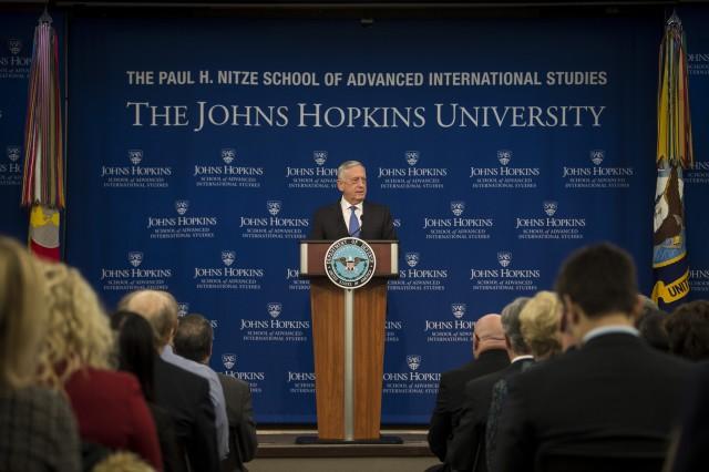 Defense Secretary James N. Mattis announces the new National Defense Strategy at the Paul H. Nitze School of Advanced International Studies, a division of the Johns Hopkins University based in Washington, Jan. 19, 2018.