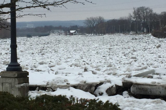 The threat of ice jams like this one on the Mohawk River near Schenectady, N.Y. on Jan. 21, 2018 causing flooding as temperatures rise this week, prompted the New York State Division of Homeland Security and Emergency Services to ask the New York National Guard to put Soldiers and Airmen on state active duty to assist local governments if required. On Monday, Jan. 22, 129 Army and Air National Guard members were on state active duty.