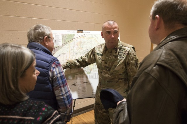 Coll. Joseph McLamb, Fort Jackson and Army Training Center Deputy Commanding Officer gives a brief over view of Fort Jackson's mission during the post's Come Meet Your Army Tour Jan. 16.