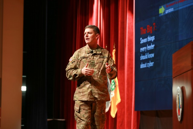 FORT BENNING, Ga. (Jan. 23, 2018) -- Brig. Gen. J.P. McGee, the deputy commanding general (Operations) of the U.S. Army Cyber Command, talked about the cyber and electromagnetic spectrum capabilities of the brigade combat team and lower echelons. The Maneuver Center of Excellence held the Maneuver Warfighter Conference at Fort Benning, Georgia, Jan. 8 through 11. The multi-day event included speaking portions by three four-star generals, a former speaker of the House of Representatives, a futurist, and many others, who focused on cross-domain maneuver and preparing for the future. (U.S. Army photo by Markeith Horace, Maneuver Center of Excellence, Fort Benning Public Affairs)