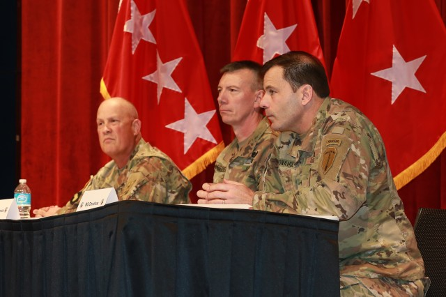 FORT BENNING, Ga. (Jan. 23, 2018) -- The role of the cross-functional team in the Army was the focus during a final-day session of the Maneuver Warfighter Conference at the Maneuver Center of Excellence at Fort Benning, Georgia, Jan. 11. Panelists for the discussion were Maj. Gen. James M. Richardson, the special adviser for Program Integration at the Office of the Vice Chief of Staff of the Army at the Pentagon in Washington D.C.; Brig. Gen. David A. Lesperance, U.S. Army Armor School commandant at the MCoE; and Brig. Gen. Christopher T. Donahue, U.S. Army Infantry School commandant at the MCoE. (U.S. Army photo by Markeith Horace, Maneuver Center of Excellence, Fort Benning Public Affairs)