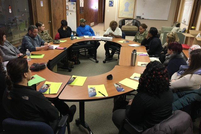 Rock Island Arsenal's Sexual Harassment Assault Response and Prevention professionals discuss community resources and coordination for responding to sexual assault reports during professional development training at Family Resources, Moline Illinois.